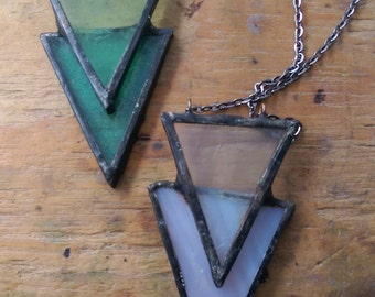 """24"""" Jessica Handmade Stained Glass Pendant Necklace"""