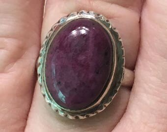Sterling Silver RUBY ZOISITE Ring--Size 7-1/4