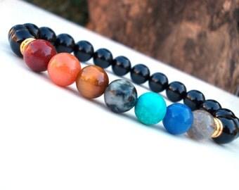 Healing Chakra stone bracelet, Yoga class bracelet, Seven Chakras bracelet, 7 Chakra Onyx bracelet, Gemstone bracelet, Meditation bracelet,