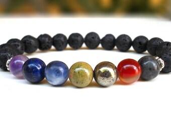 Chakra stone bracelet, Lava stone bracelet, Lava bracelet, Seven Chakra bracelet, Chakra bracelet, Stone bracelet, Mala bracelet, Healing