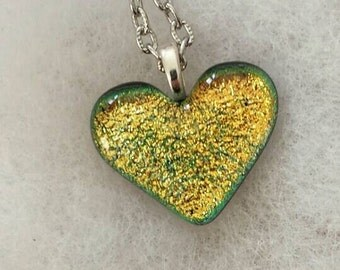 Gold Heart Dichroic Glass Necklace, Dichroic Glass Pendant, Kiln Fired Glass Necklace, Art Glass Jewelry, Dichroic Glass Jewelry, H101