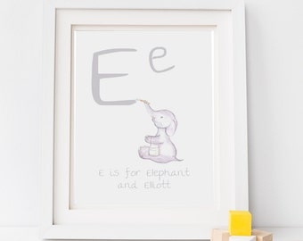 Nursery art, letter print, childrens illustration, baby wall art, personalised art,gift for baby, elephant drawing, fox, giraffe, animal art