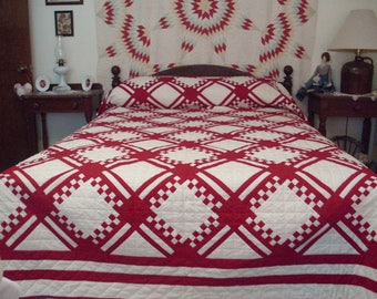 Vintage Red and White Quilt, Queen Size Quilt, Farm House Quilt, Traditional Quilt, Patchwork Quilt, Hand Quilted,