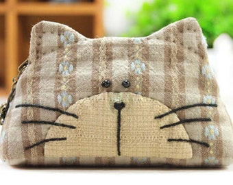 DIY Brown Cat Wallet Sewing Kit w/ free sewing pattern, Sewing projects, Craft Kit, quilting, craft supplies, ShineKidsCrafts