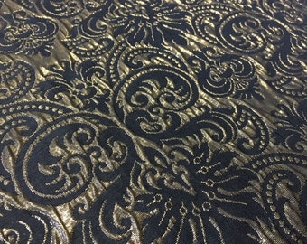 Brocade fabric in Gold and black