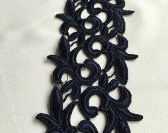 Navy lace, floral lace, venise lace trim