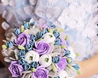 Purple wedding bouquet Beaded flowers bouquet Clay wedding bouquet Purple roses bridal bouquet Snow queen bouquet Purple bouquet