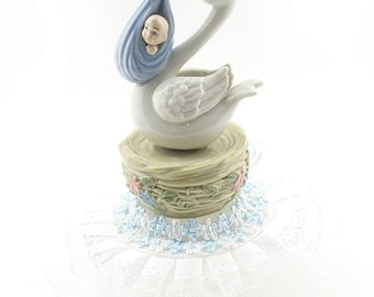 Porcelain Stork with Baby Boy Musical Figurine Shower Birthday Cake Top
