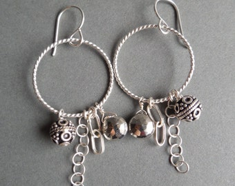 Sterling Silver and Pyrite Briolette Earrings with Bali Bead