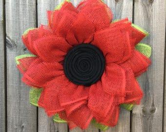 Gerber Daisy Wreath, Daisy Wreath, Front Door Wreaths, Handmade Wreath, Indoor Wreath, Spring Wreath, Summer Wreath, Mother's Day Gift