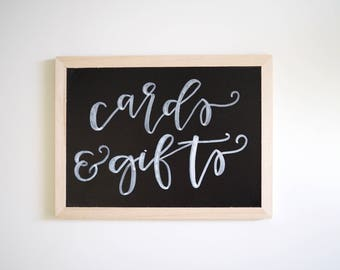 "Chalkboard ""Cards & Gifts"" Sign // Handlettered Modern Calligraphy Chalkboard"