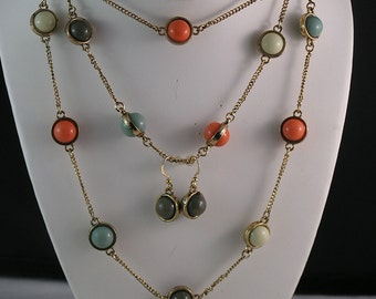 Fantastic Mini Multi Color Orb Flapper Length Necklace and Earrings
