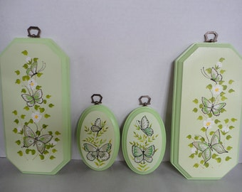 Set of 4 - Vintage Merri - Mates Butterfly Plaques