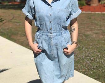 90s 80s Collared Denim Button up Dress