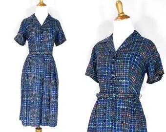 Vintage 1960s Dress | 60s Houndstooth Cotton Print Shirtwaist Dress | Large L