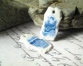 Handmade rustic polymer charms, earring pair, pottery fragments, china shards, porcelain shards, primitive, tribal, boho, Artisan, SRA