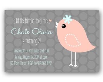 Girl Birthday Invitation - Custom Birthday Party Invite - Printable - Vintage Bird