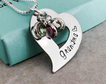 Grandma necklace mom necklace personalized necklace with birthstones heart charm Gift for grandma jewelry gift for mom jewelry mother's day