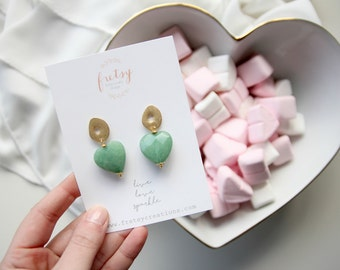 Heart green gemstone earrings