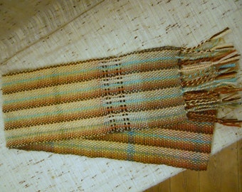 Handwoven Wool Scarf with leno lace accent