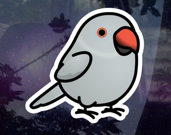 """Chubby Indian Ringneck Parakeet Gray Female 3.5"""" Sticker [Outdoor Quality]"""
