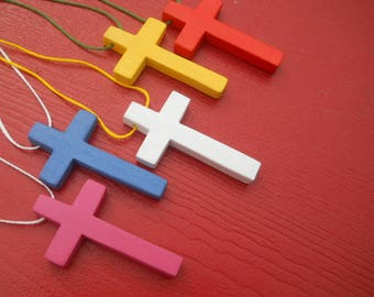 Multicolored Wooden Cross Necklace