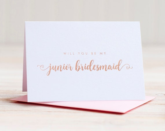 Will You Be My Junior Bridesmaid Card Rose Gold Foil ask bridesmaid proposal gift box wedding party card junior bridesmaid invitation rose