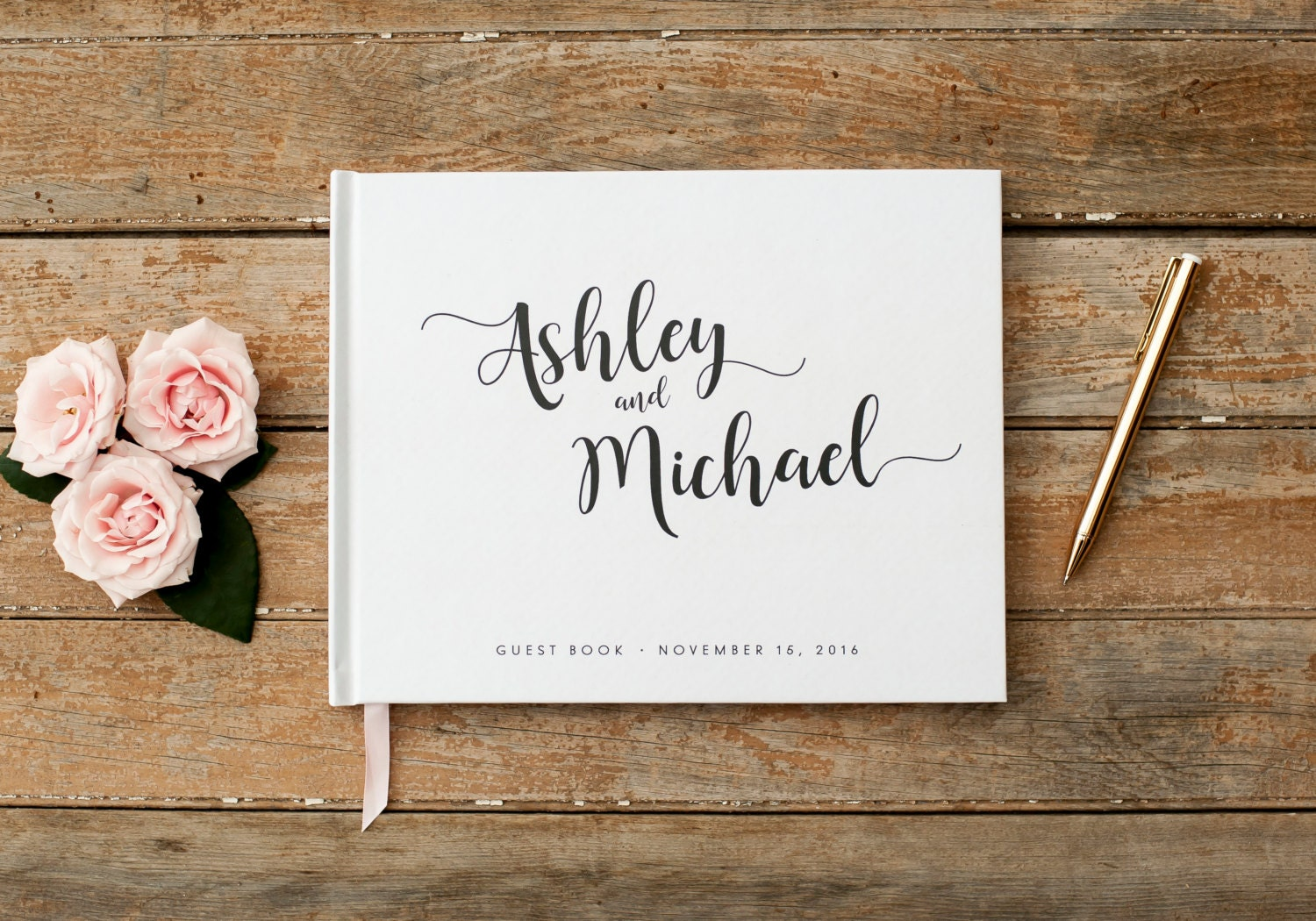Wedding Guest Book Horizontal Landscape Guestbook Sign In Photobooth Hardcover Planner Baby White