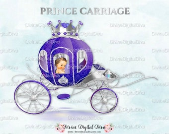 Prince Carriage Coach Purple & Silver | Caucasian Baby Boy | Clipart Instant Download