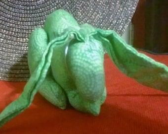 Small Rabbit Green Calico Fabric Handmade Decor