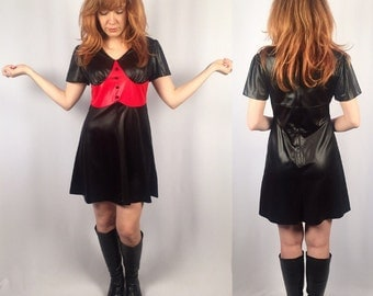 Vintage 1960's black and red mod babydoll dress