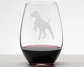 German Shorthaired Pointer Etched Glass Stemless Wineglass