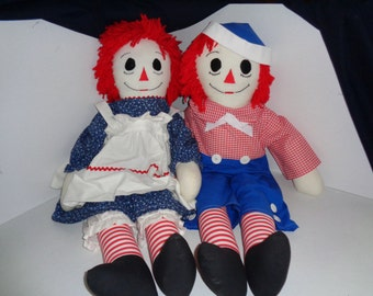 "Handmade 36"" Raggedy Ann & Andy"