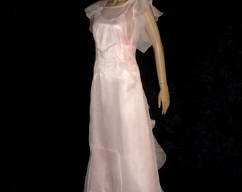 Gatsby 1920's Pink Ruffled Organdy Full Length Gown Dress with Slip
