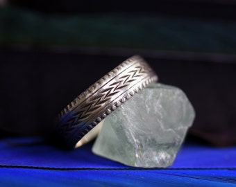 """SAMPLE SALE 5mm """"Alle My Trvst"""" Lightning Strike Band in Sterling Silver Size 6.75 Ready to Ship"""