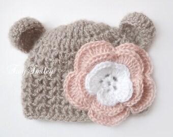 Newborn Bear Hat, Bear Girl Hat, Newborn Bear Beanie, Crochet Bear Hat, Baby Bear Hats, Photo Prop Bear, Baby Animal Hat, Mohair Bear Hat