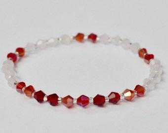 Swarovski Stretch Bracelet, Sparkly Jewelry, Red Stackable Bracelet, Arm Candy, Boho Beaded Bracelet, Bridesmaid Gift, Gift for Her