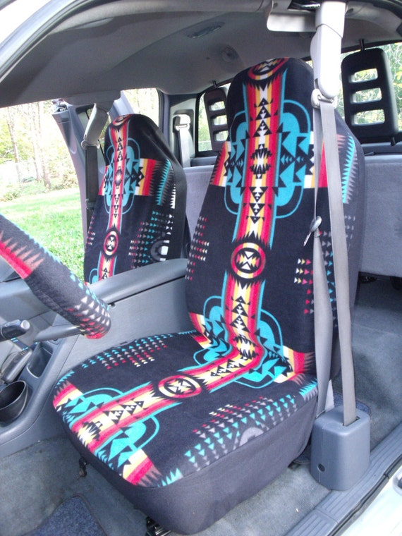 A Set of Southwest Black Print. Seat Covers and Steering Wheel Cover Custom Made.