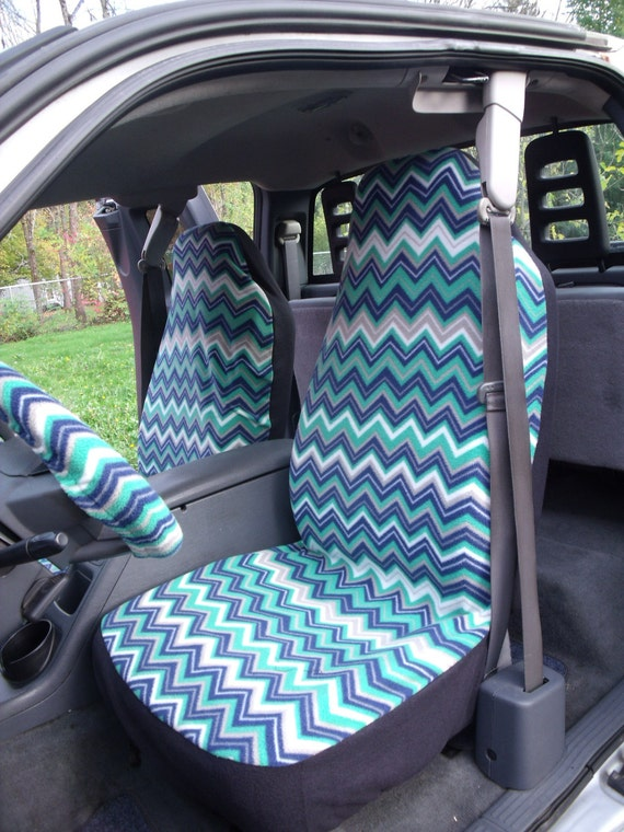 A Set of Multi Olive Chevron Print. Seat Covers and Steering Wheel Cover Custom Made.