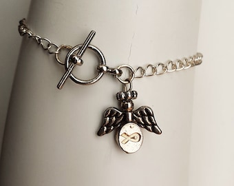 Angel Charm Bracelet or Anklet, Angel Charm Jewelry, Angel Ribbon Charm Bracelet, Guardian Angel Bracelet, Guardian Angel Anklet