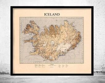 Vintage Map of Iceland islandia
