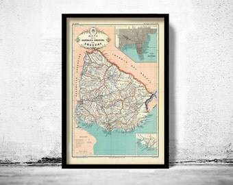 Old Map Uruguay and Montevideo South America Antique map 1888