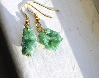 Green Druzy Agate Earrings, Small
