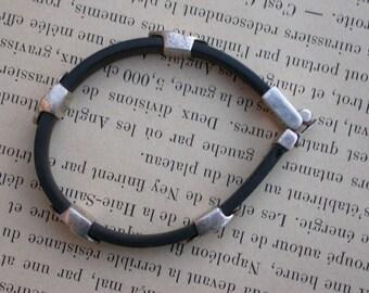 French vintage Large sterling silver  beads  link old bracelet  stamped black rubber  bracelet   security clasp nail beads