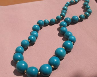 Retro Turquoise Colored Wood Beaded Long Necklace TLC