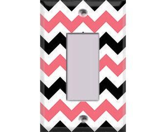 Chevron - Pink, Black & White Single Rocker/GFI Cover
