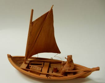 Bourgault Carved Fishing Boat