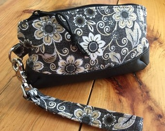 Leather and Cotton Floral  Wristlet Purse