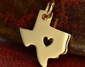 Solid 14K Gold Texas State Charm with Heart