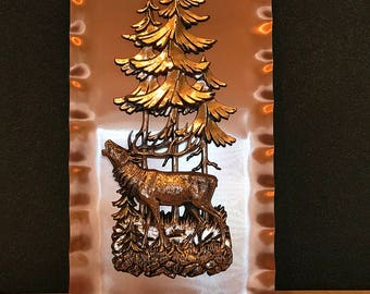 Vintage copper elk plaque West Germany original box.